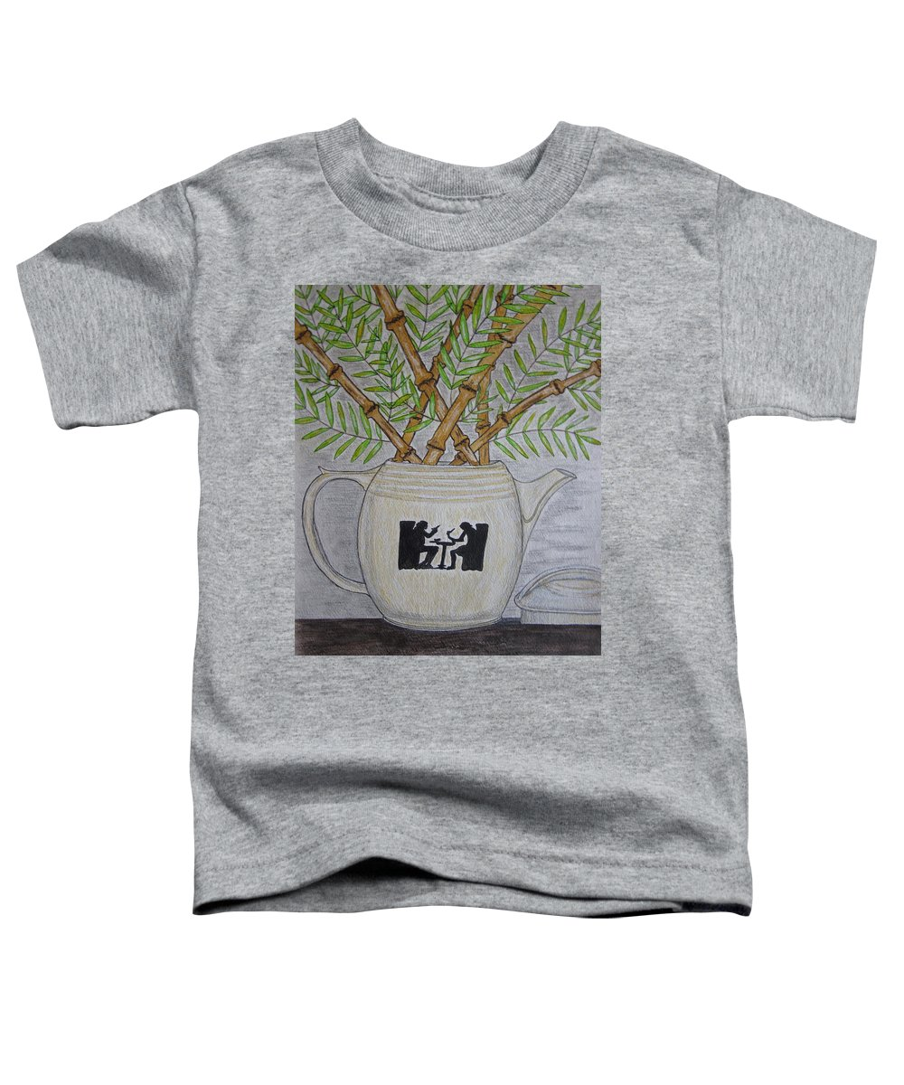 Hall China Toddler T-Shirt featuring the painting Hall China Silhouette Pitcher With Bamboo by Kathy Marrs Chandler