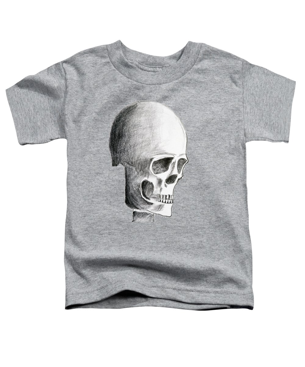 Halloween Toddler T-Shirt featuring the drawing Hand Drawing Of The Skull - Pencil On Paper by Michal Boubin