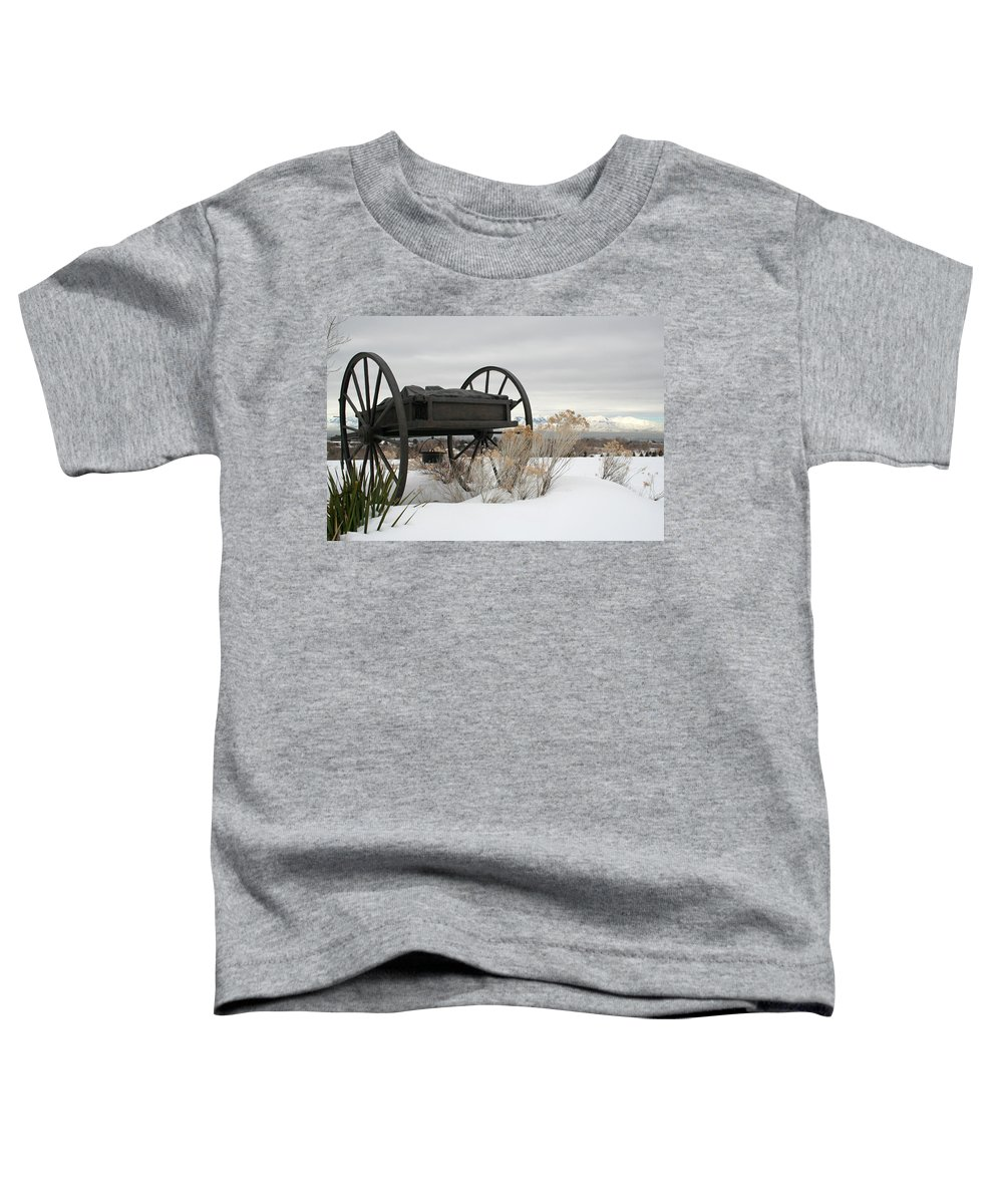 Handcart Toddler T-Shirt featuring the photograph Handcart Monument by Margie Wildblood