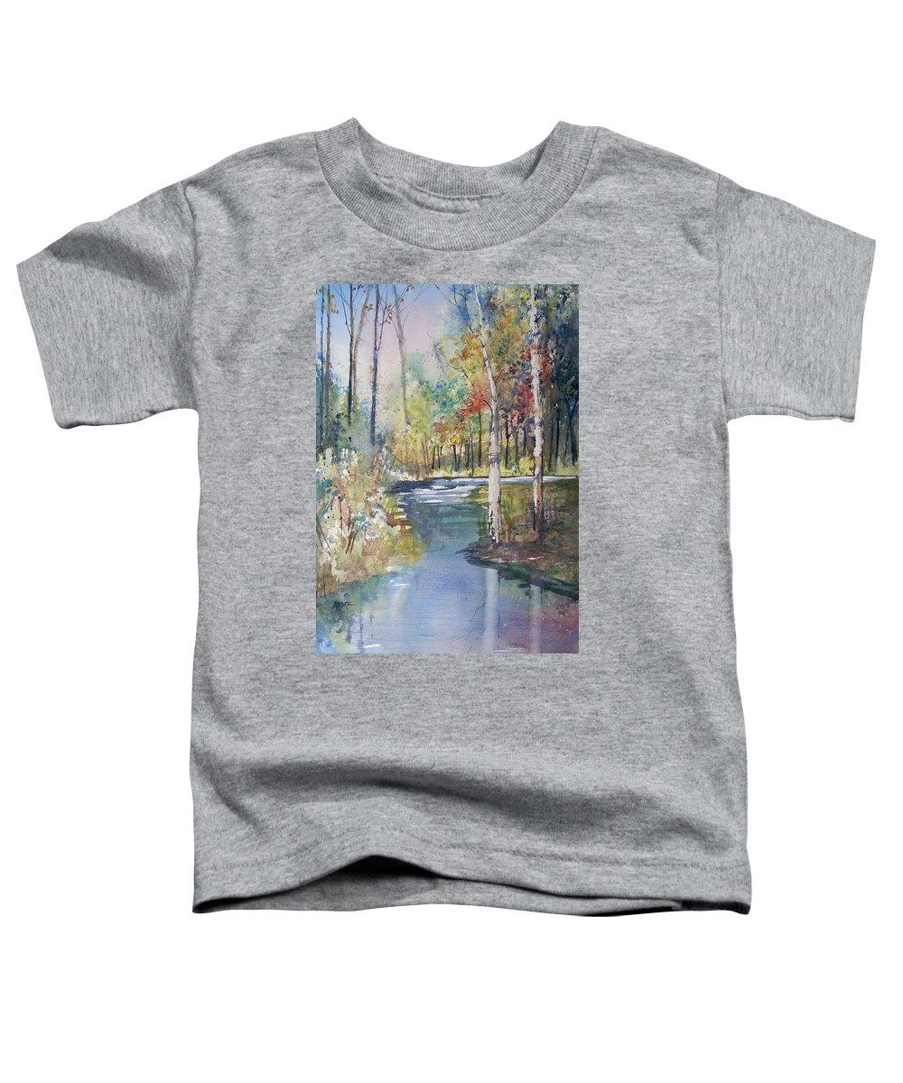 Ryan Radke Toddler T-Shirt featuring the painting Hartman Creek Birches by Ryan Radke