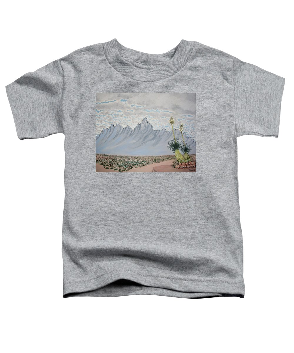 Desertscape Toddler T-Shirt featuring the painting Hazy Desert Day by Marco Morales