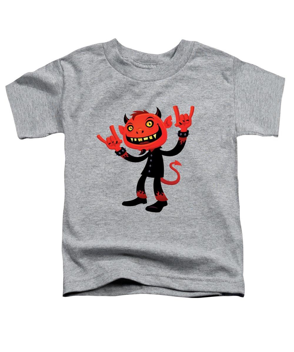 Heavy Metal Toddler T-Shirt featuring the digital art Heavy Metal Devil by John Schwegel