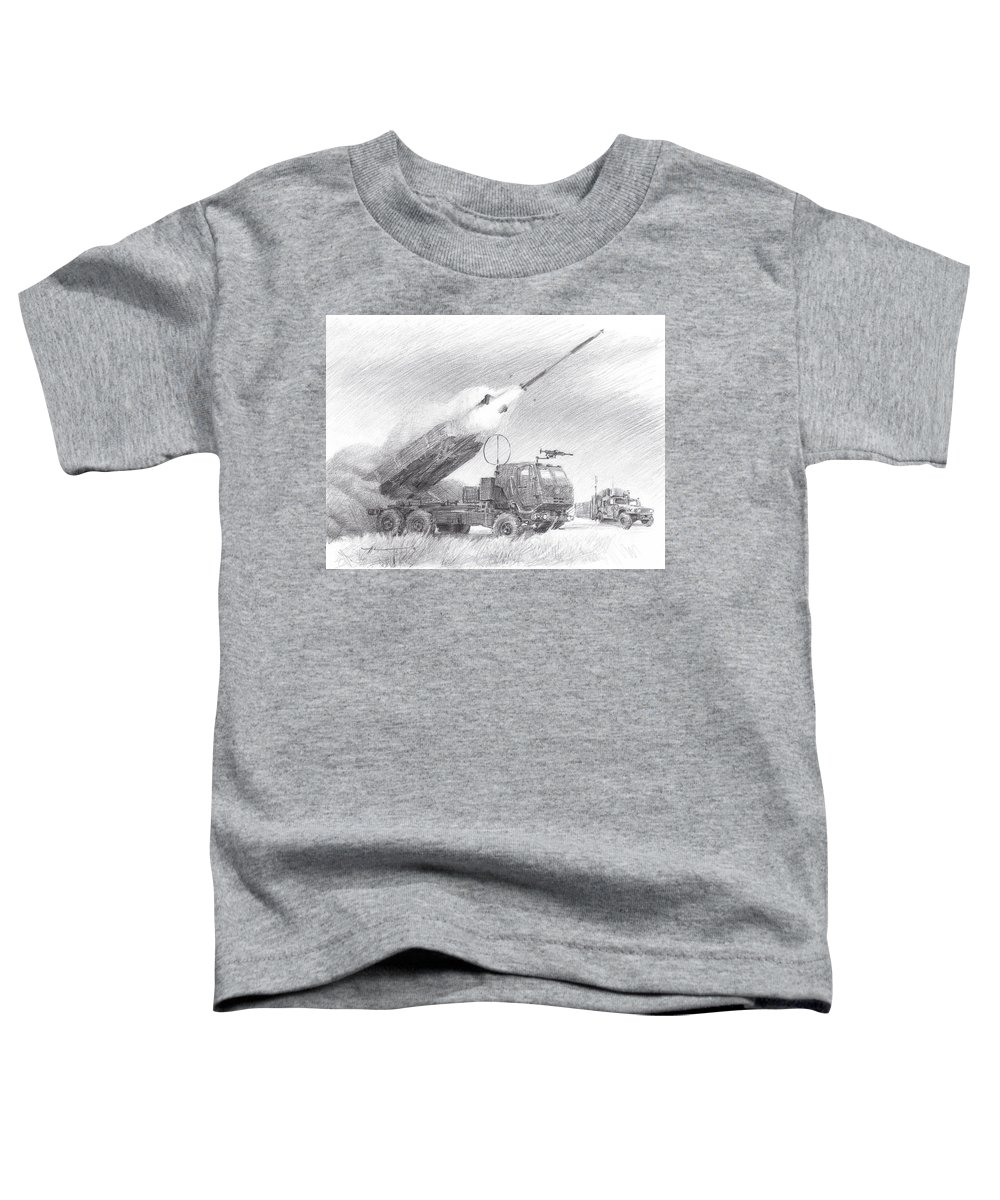 Www.miketheuer.com Himars Pencil Portrait Toddler T-Shirt featuring the drawing HIMARS pencil portrait by Mike Theuer