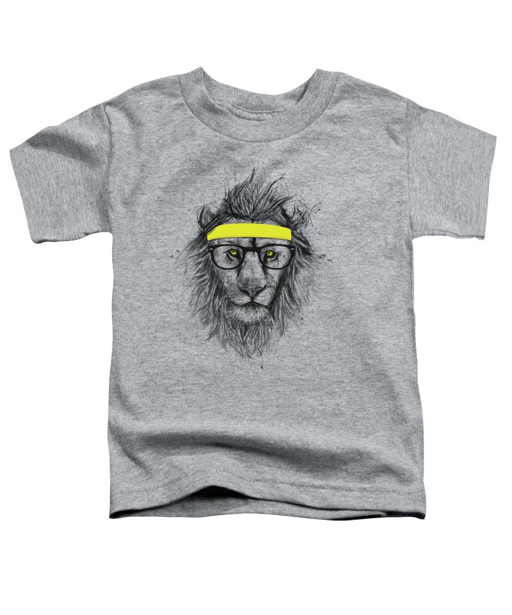 Lion Toddler T-Shirt featuring the drawing Hipster lion by Balazs Solti
