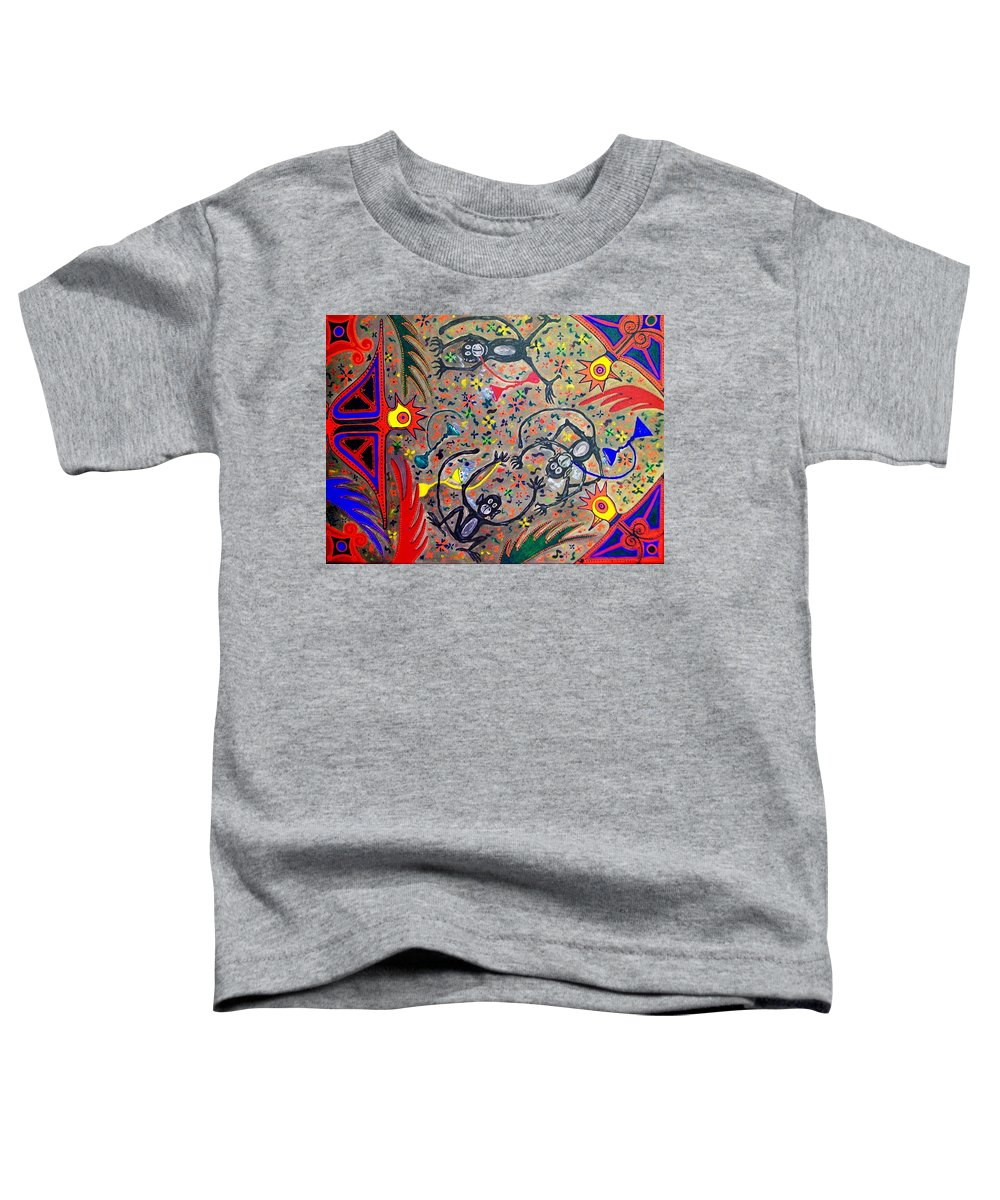 Contemporary Folk Art Toddler T-Shirt featuring the painting Hookah Monkeys - Jinga Monkeys Series by Fareeha Khawaja