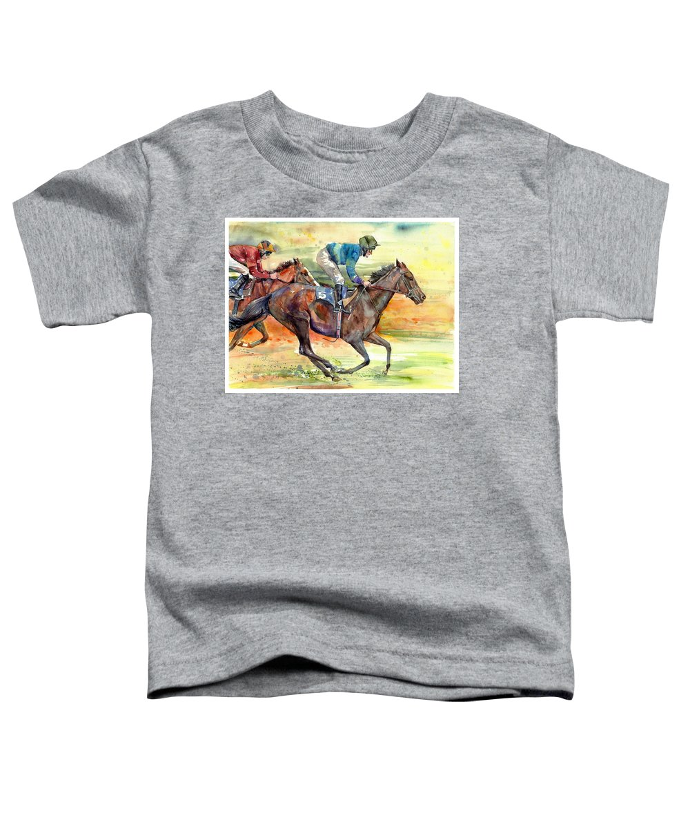 Horse Toddler T-Shirt featuring the painting Horse Races by Suzann Sines