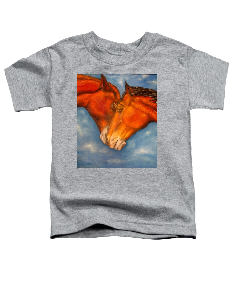 Horses Toddler T-Shirt featuring the painting Horses In Love.oil Painting by Natalja Picugina