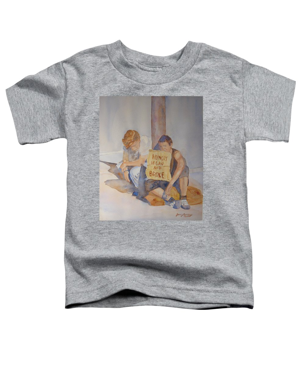 Humorous Toddler T-Shirt featuring the painting Hungry Vegan And Broke by Jenny Armitage