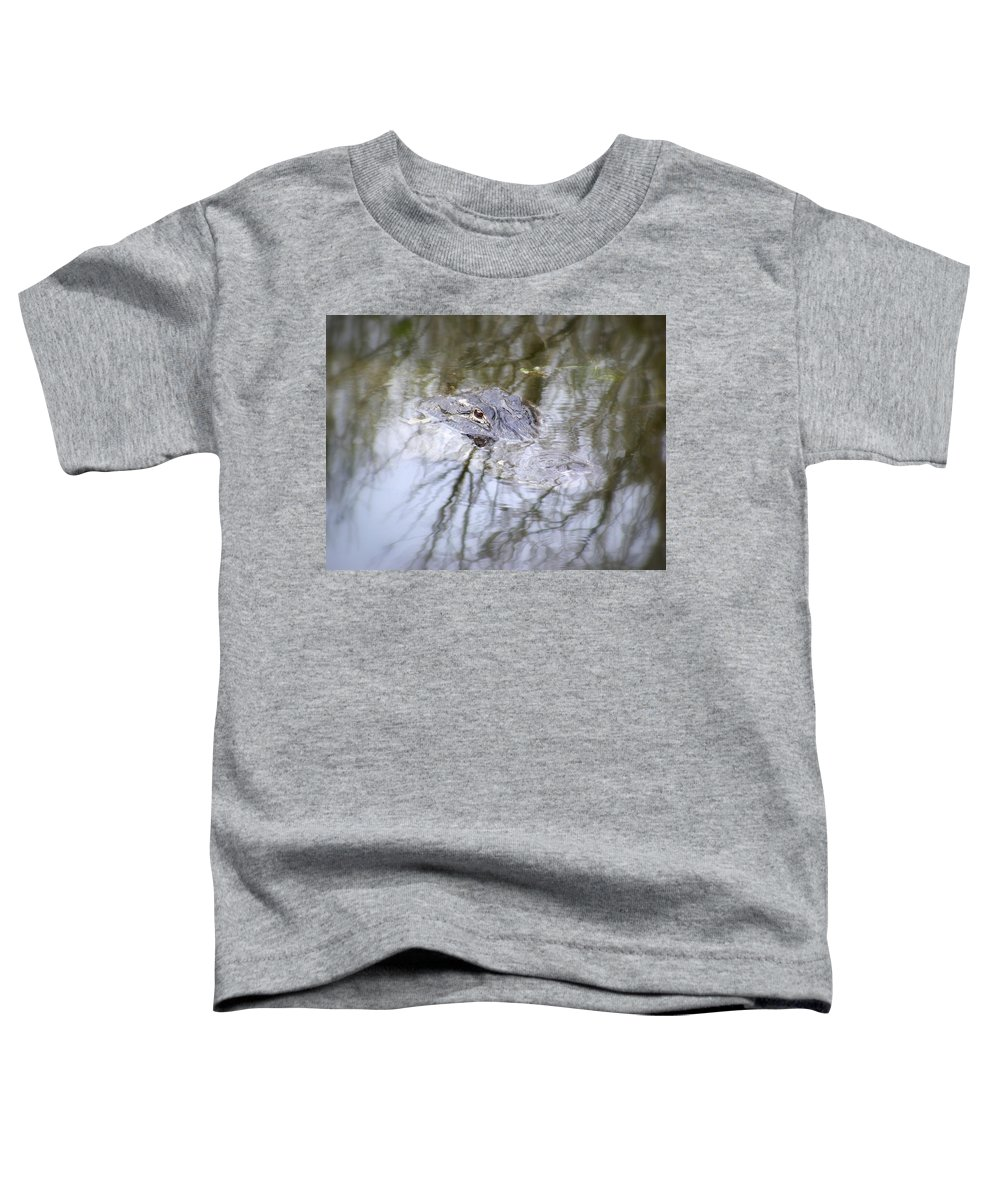 Alligator Toddler T-Shirt featuring the photograph I Am Watching by Ed Smith