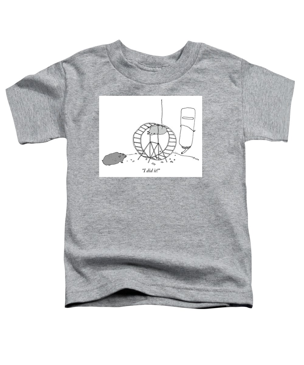 """i Did It!"" Toddler T-Shirt featuring the drawing I Did It by Liana Finck"