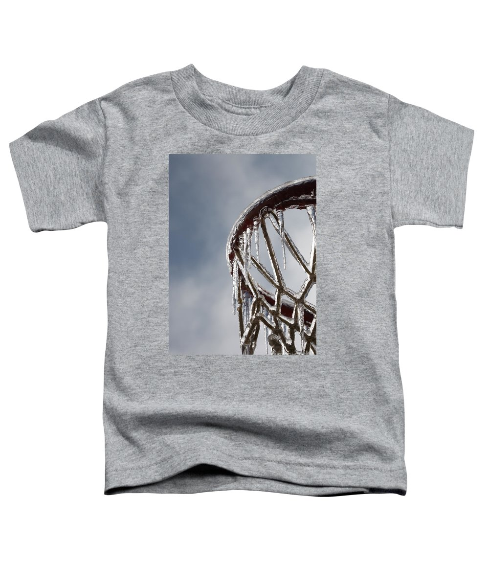 Basketball Toddler T-Shirt featuring the photograph Icy Hoops by Nadine Rippelmeyer