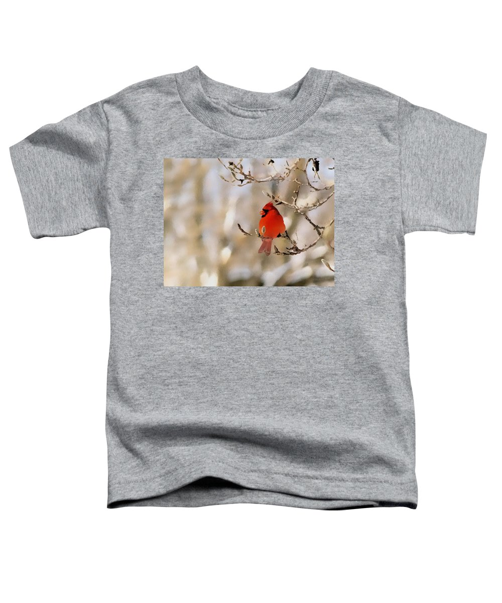 Cardinal Toddler T-Shirt featuring the photograph In Red by Gaby Swanson