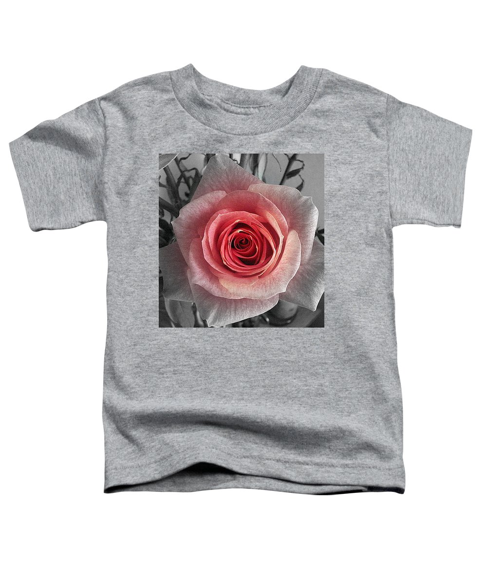 Rose Red Blackandwhite Toddler T-Shirt featuring the photograph In The Center by Luciana Seymour