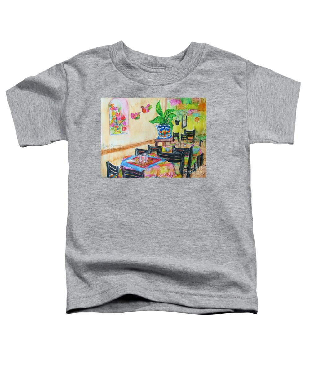 Watercolor Toddler T-Shirt featuring the painting Indoor Cafe - Gifted by Judith Espinoza