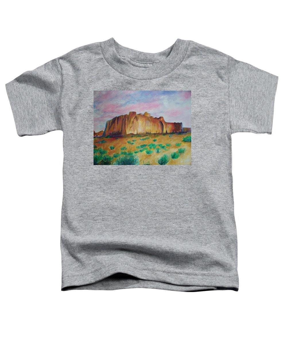 Western Landscapes Toddler T-Shirt featuring the painting Inscription Rock by Eric Schiabor