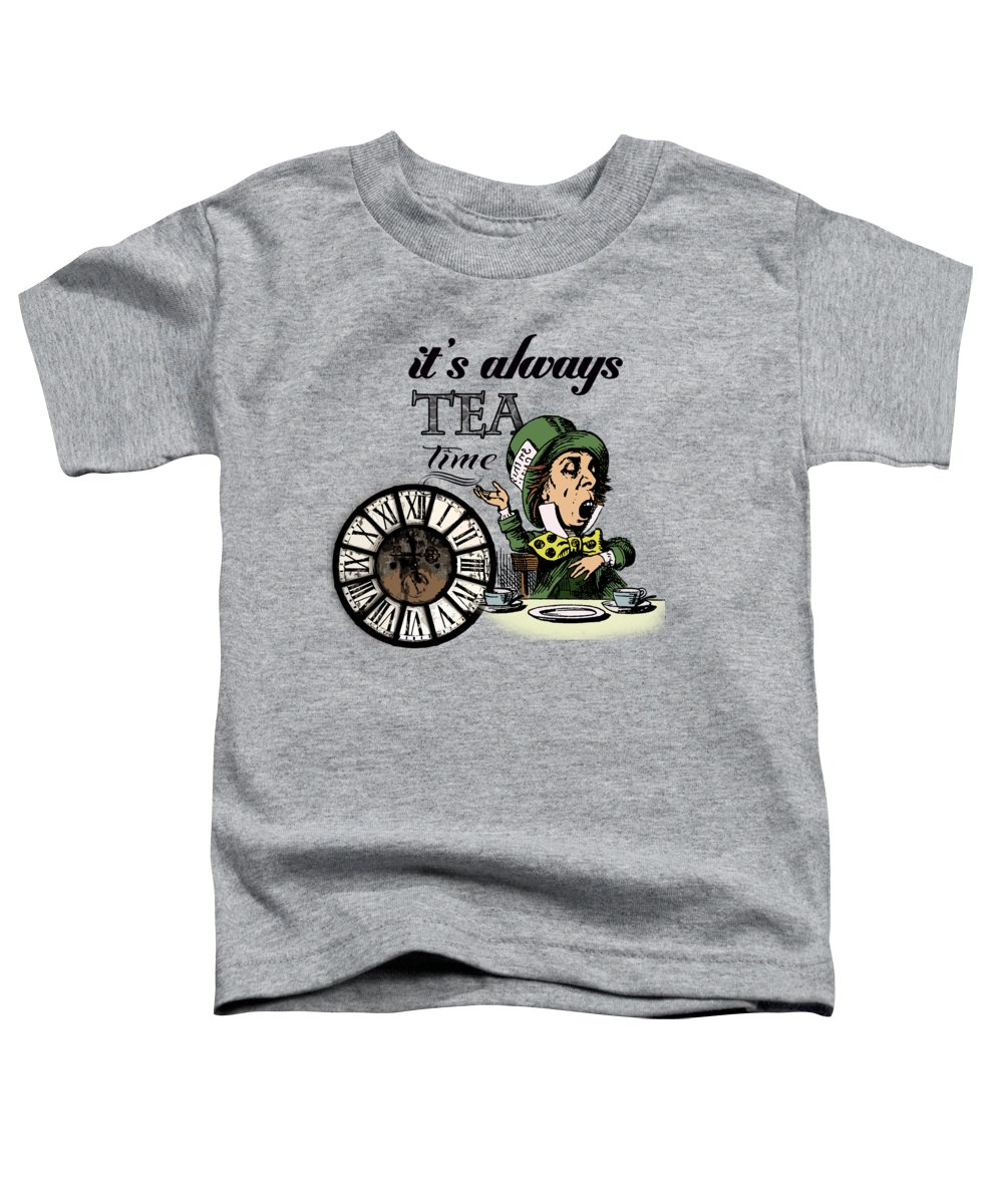 Bonkers Toddler T-Shirt featuring the digital art It's Always Tea Time Mad Hatter Dictionary Art by Anna W