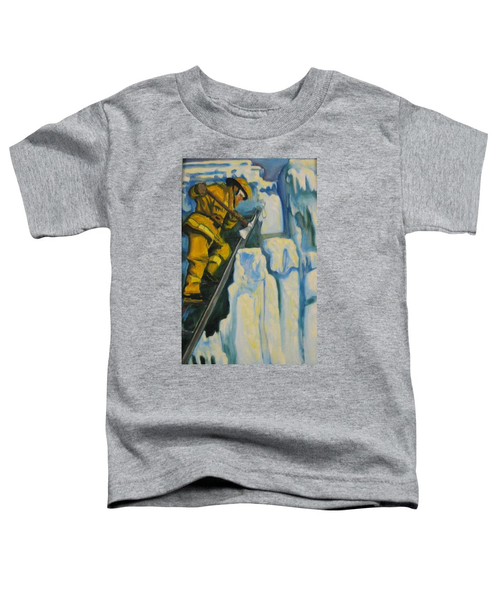 Firefighters Toddler T-Shirt featuring the painting Its Not Over Till Its Over by John Malone