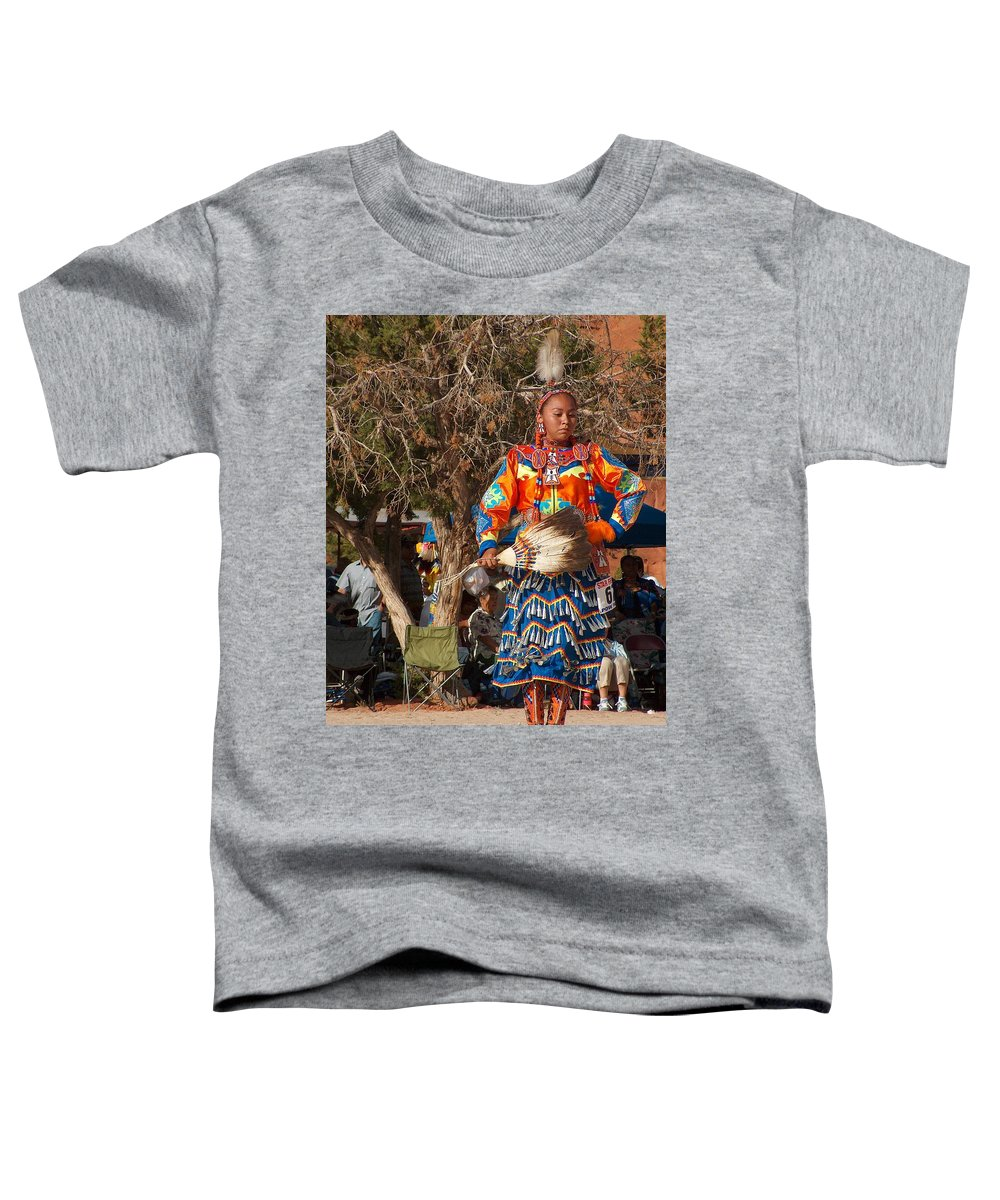 Pow-wow Dancer Toddler T-Shirt featuring the photograph Jingle Dress Dancer At Star Feather Pow-wow by Tim McCarthy