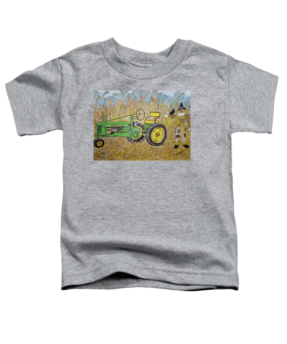 John Deere Toddler T-Shirt featuring the painting John Deere Tractor And The Scarecrow by Kathy Marrs Chandler
