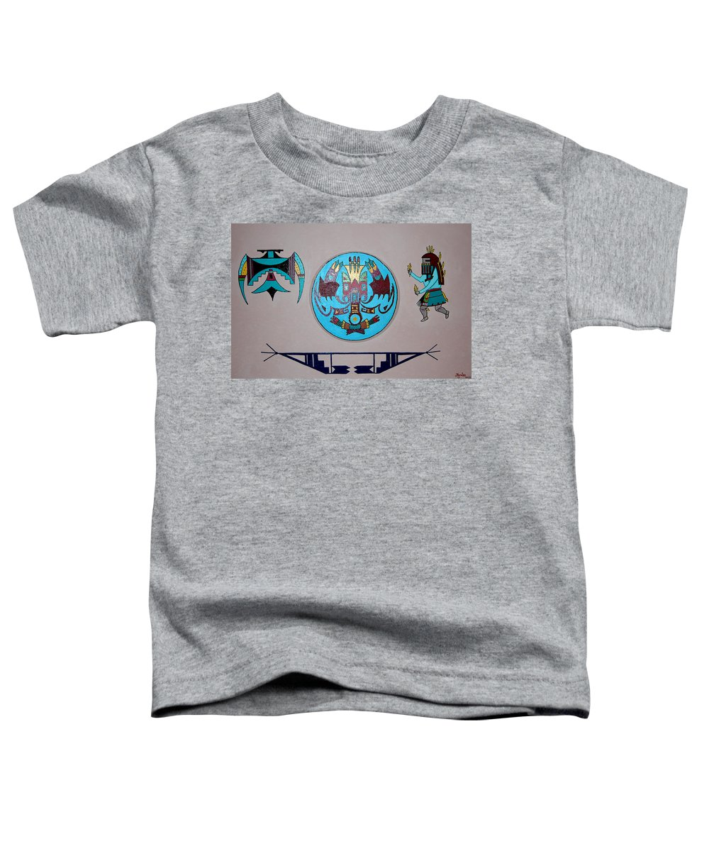Native American Art Toddler T-Shirt featuring the painting Kachina Dance by Marco Morales
