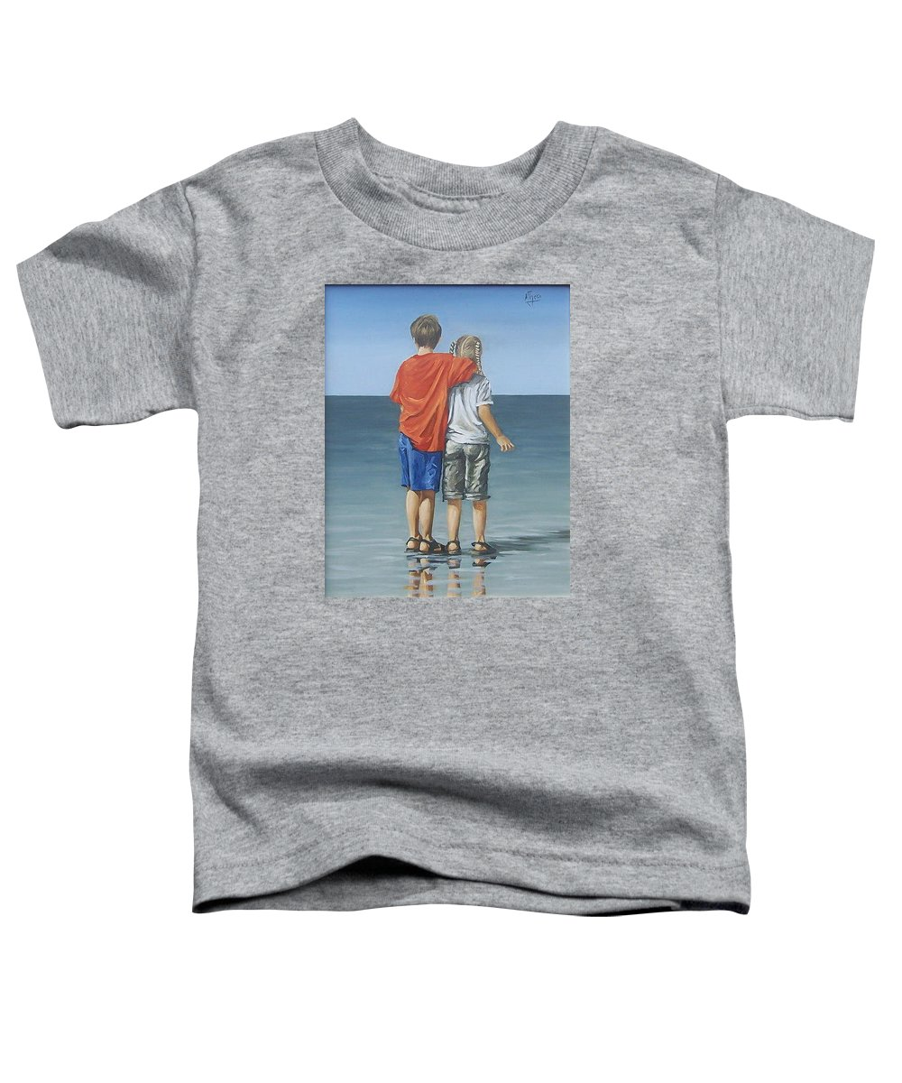 Kids Toddler T-Shirt featuring the painting Kids by Natalia Tejera