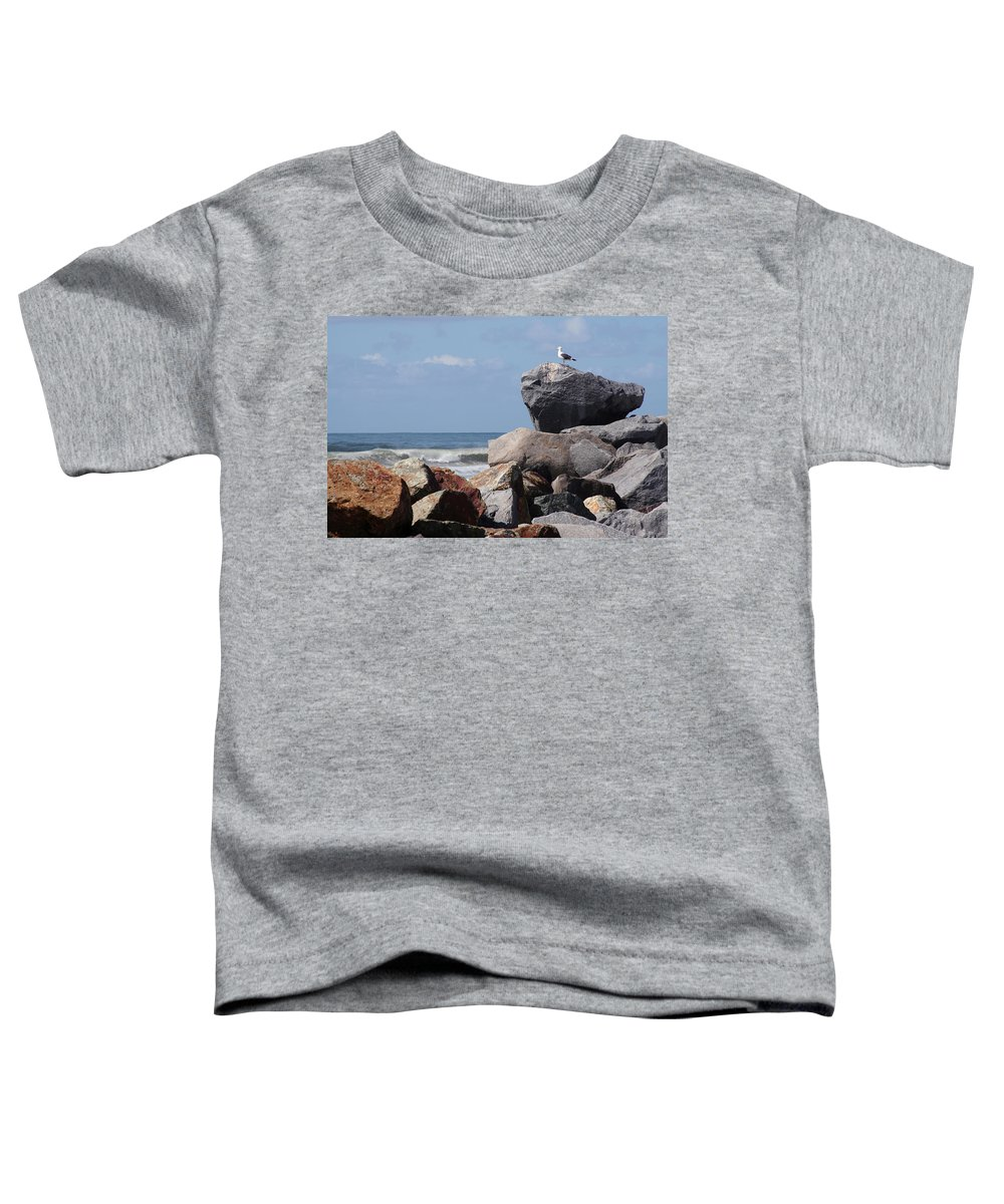 Beach Toddler T-Shirt featuring the photograph King Of The Rocks by Margie Wildblood