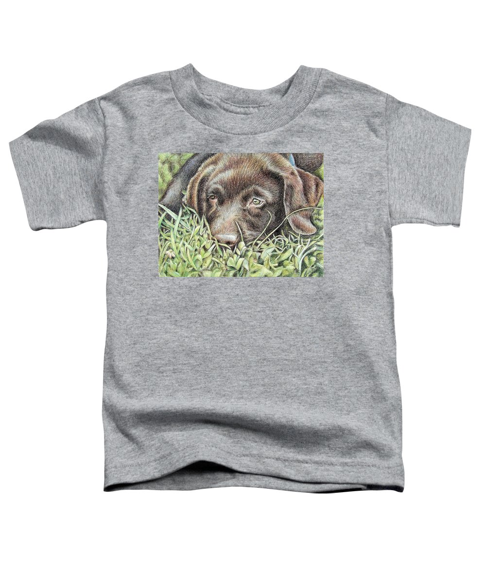 Dog Toddler T-Shirt featuring the pastel Labrador Puppy by Nicole Zeug