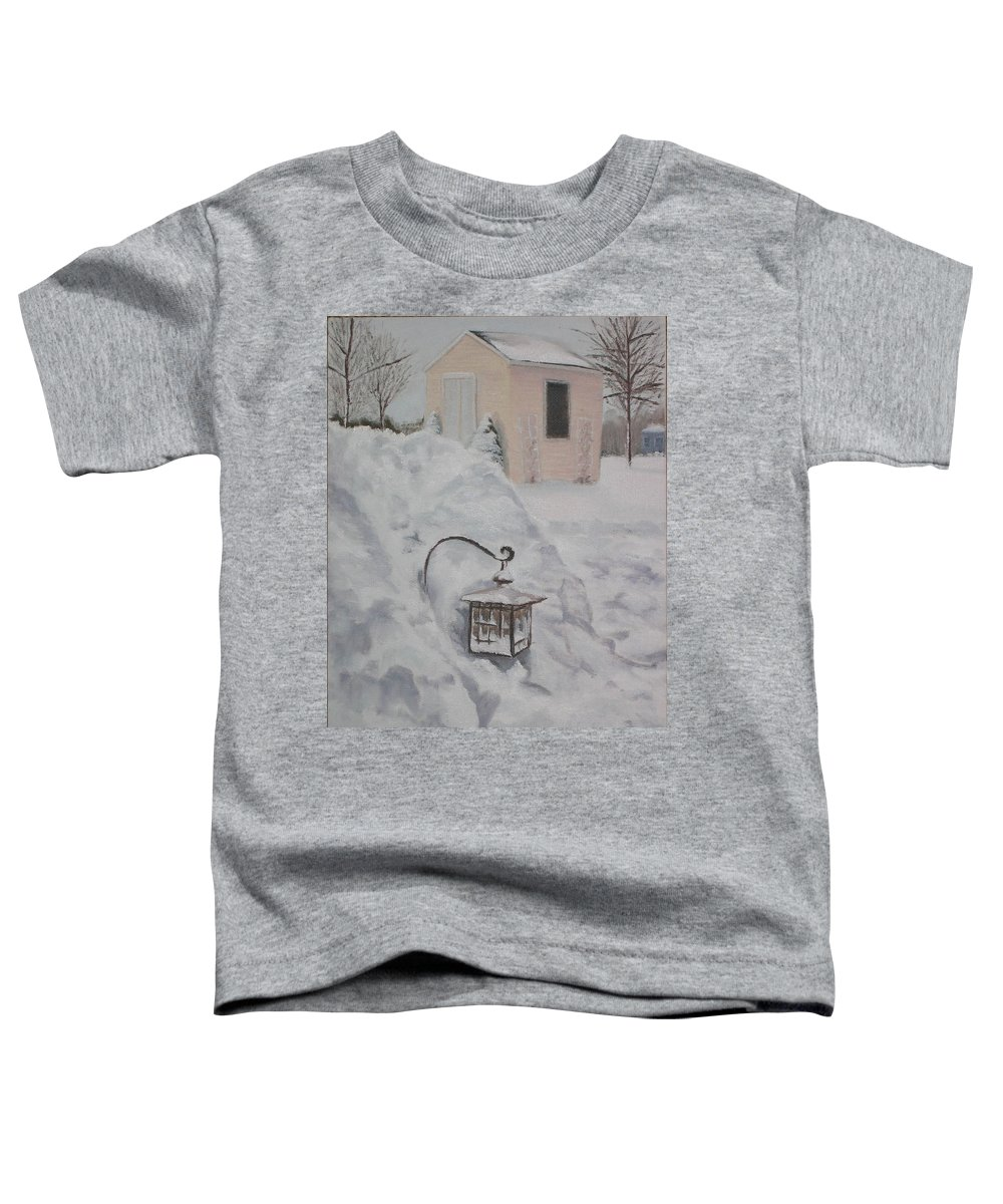 Snow Toddler T-Shirt featuring the painting Lantern In The Snow by Lea Novak