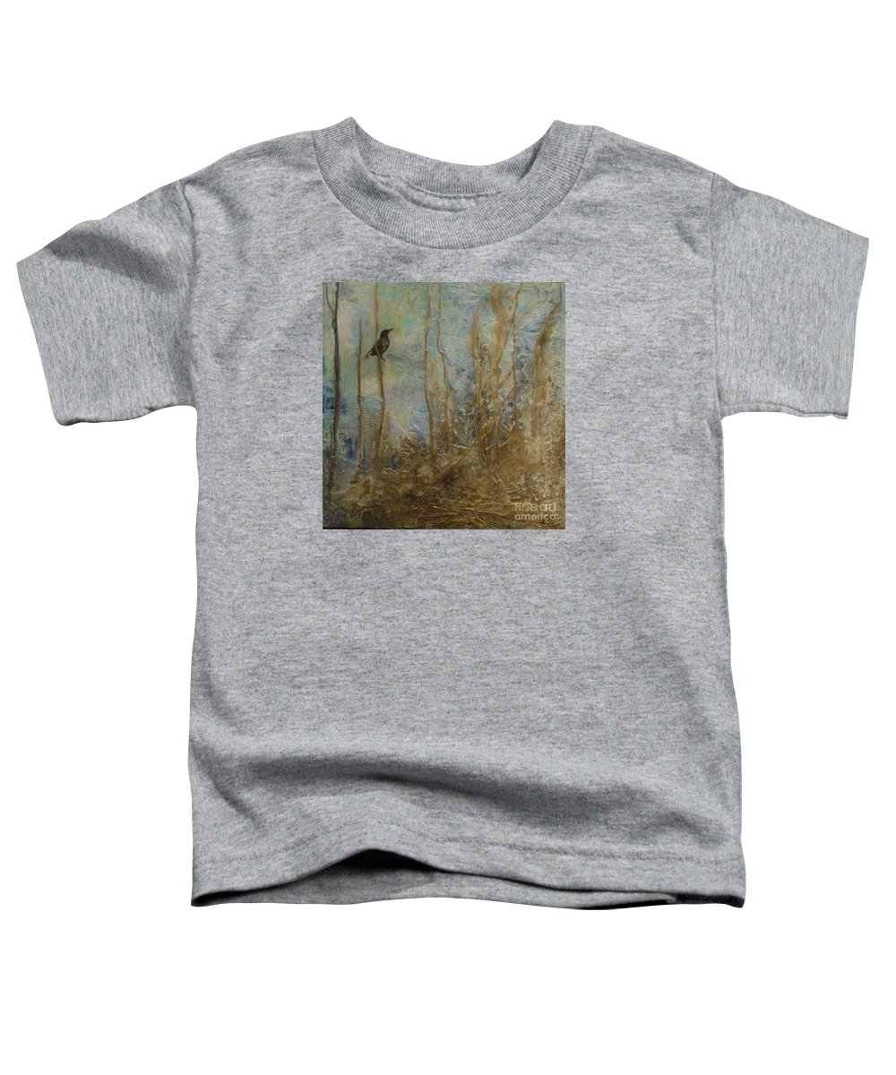 Bird Toddler T-Shirt featuring the painting Lawbird by Heather Hennick