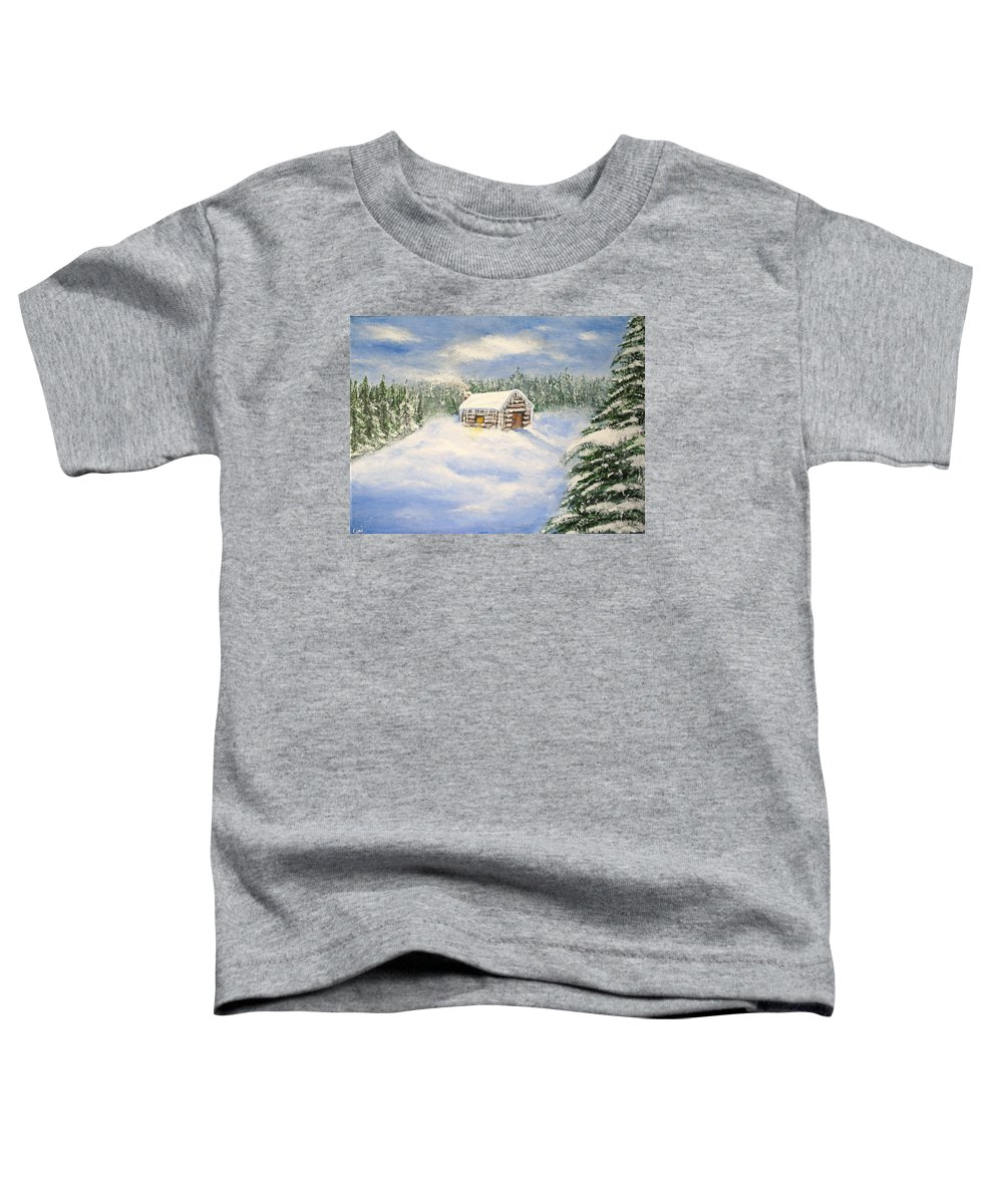Log Cabin Toddler T-Shirt featuring the painting Let It Snow by Lisa Cini