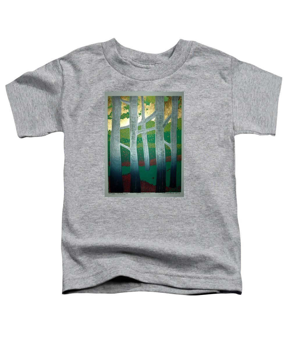 Landscape Toddler T-Shirt featuring the mixed media Light Between The Trees by Jarle Rosseland
