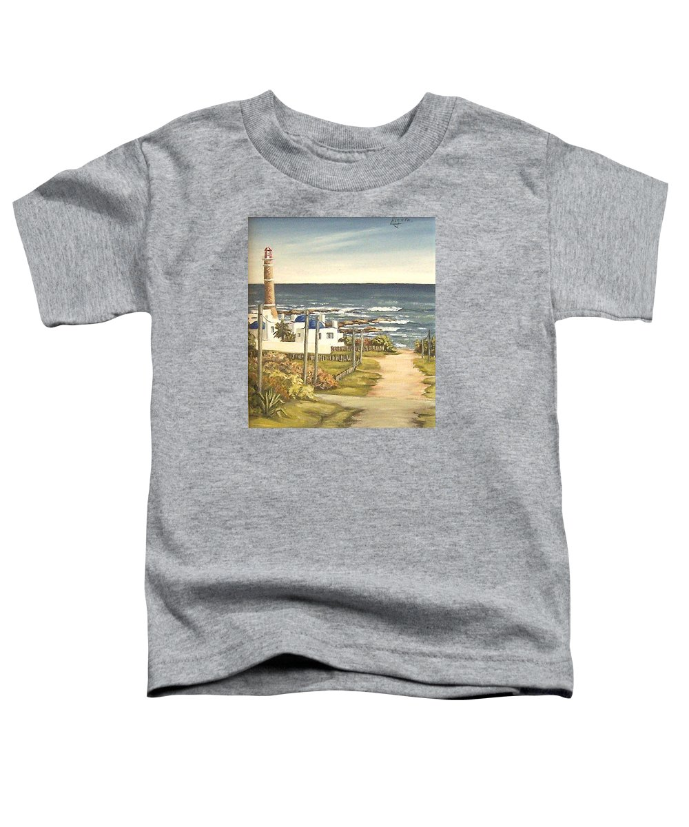 Lighthouse Seascape Sea Water Uruguay Toddler T-Shirt featuring the painting Lighthouse Uruguay by Natalia Tejera
