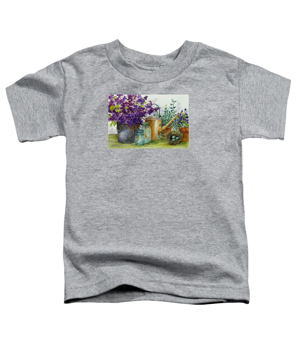 Still Life;lilacs; Ball Jars; Watering Can;bird Nest; Bird Eggs; Toddler T-Shirt featuring the painting Lilacs And Ball Jars by Lois Mountz