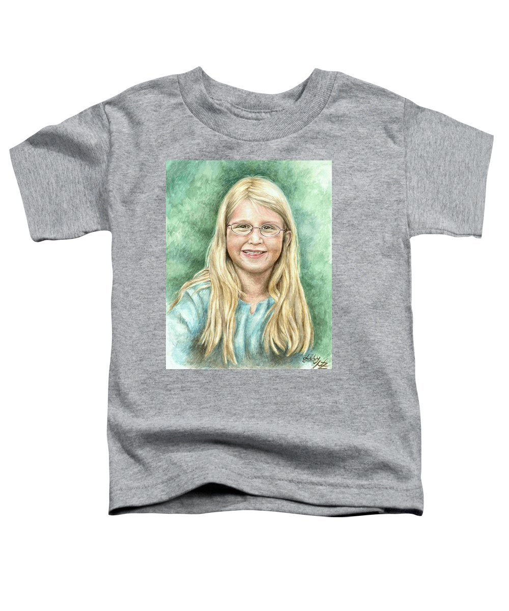 Girl Toddler T-Shirt featuring the painting Lily by Nicole Zeug