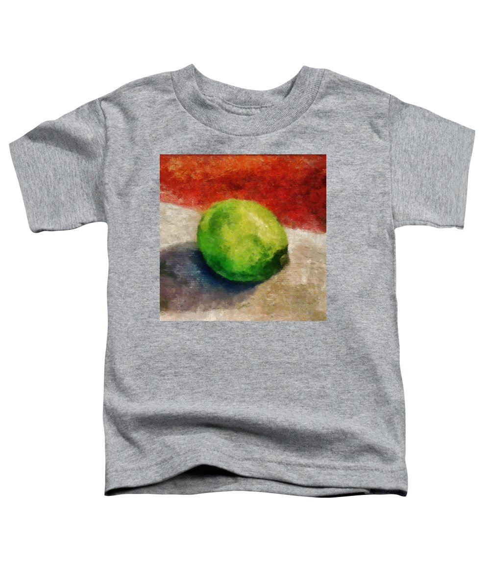 Lime Toddler T-Shirt featuring the painting Lime Still Life by Michelle Calkins