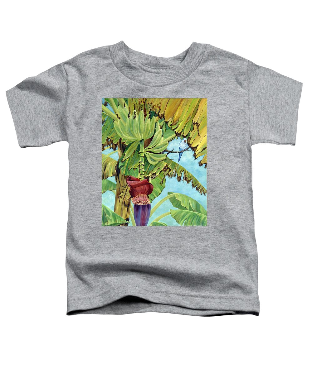 Tropical Toddler T-Shirt featuring the painting Little Blue Quaker by Danielle Perry