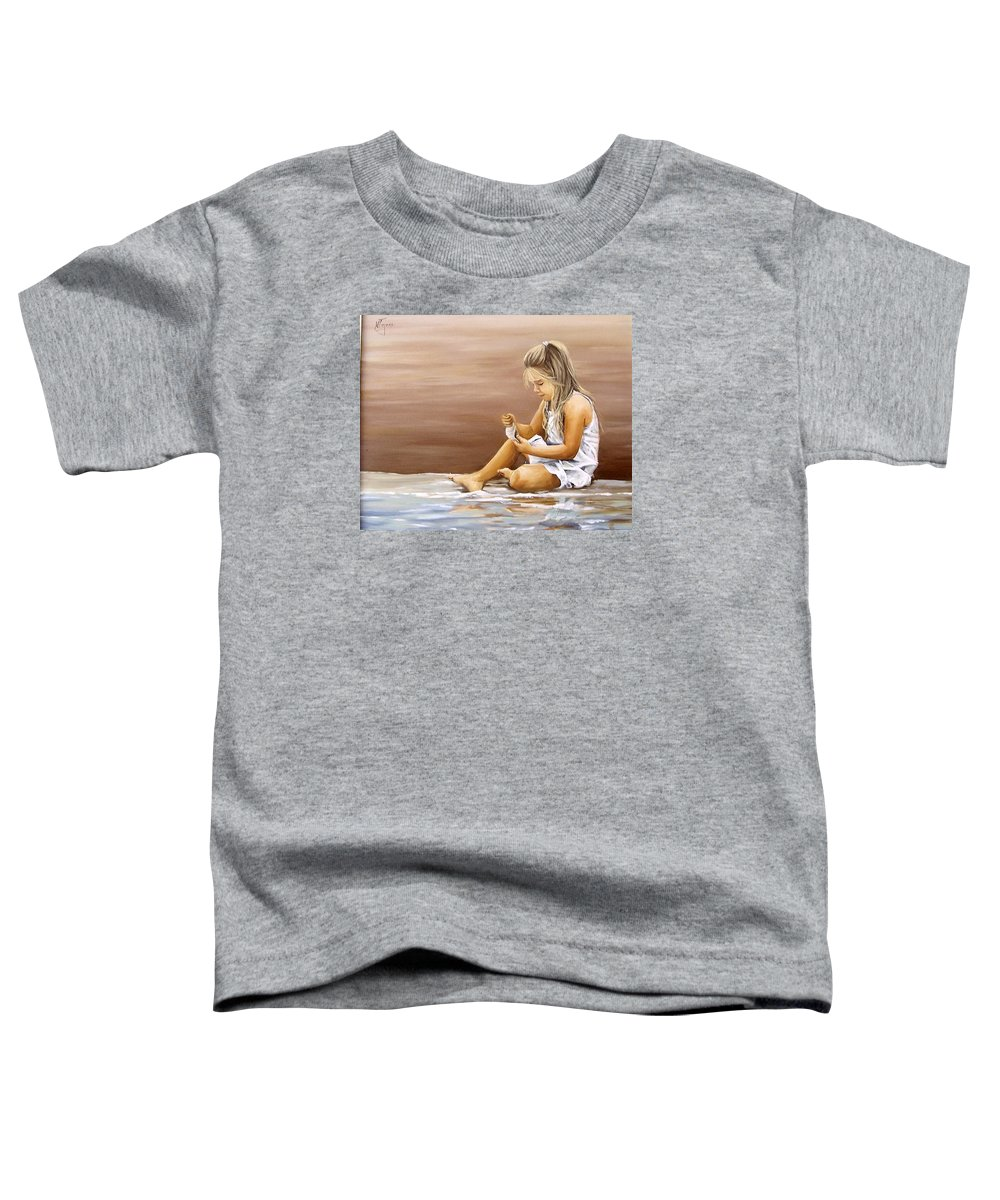 Children Girl Sea Shell Seascape Water Portrait Figurative Toddler T-Shirt featuring the painting Little Girl With Sea Shell by Natalia Tejera