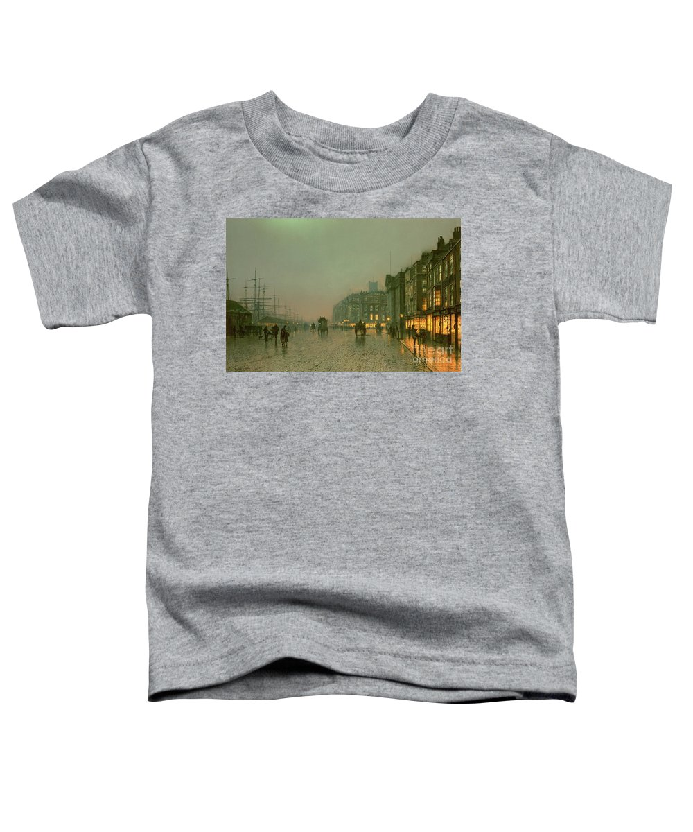 Liverpool Docks From Wapping Toddler T-Shirt featuring the painting Liverpool Docks From Wapping by John Atkinson Grimshaw