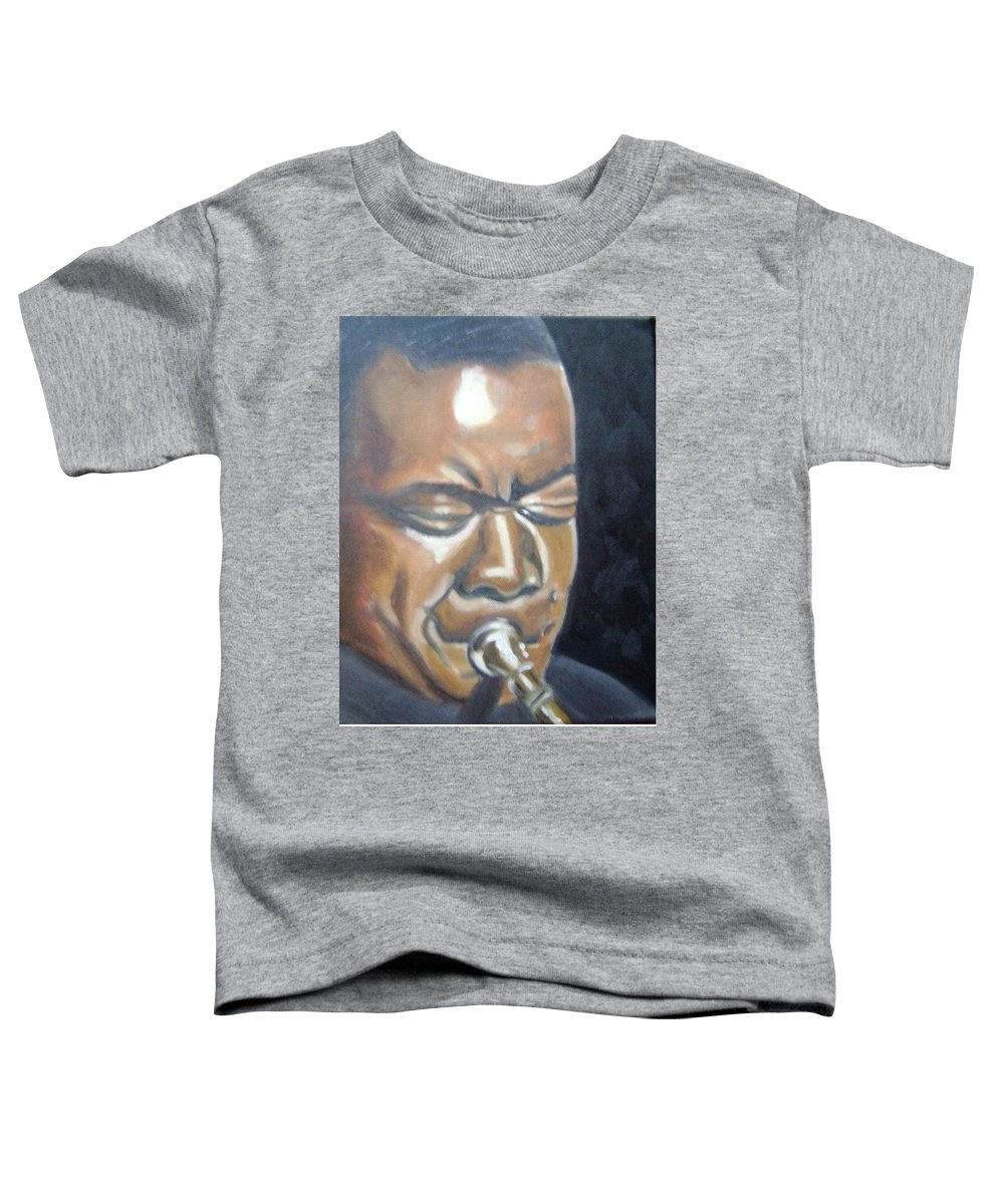 Louis Armstrong Toddler T-Shirt featuring the painting Louis Armstrong by Toni Berry