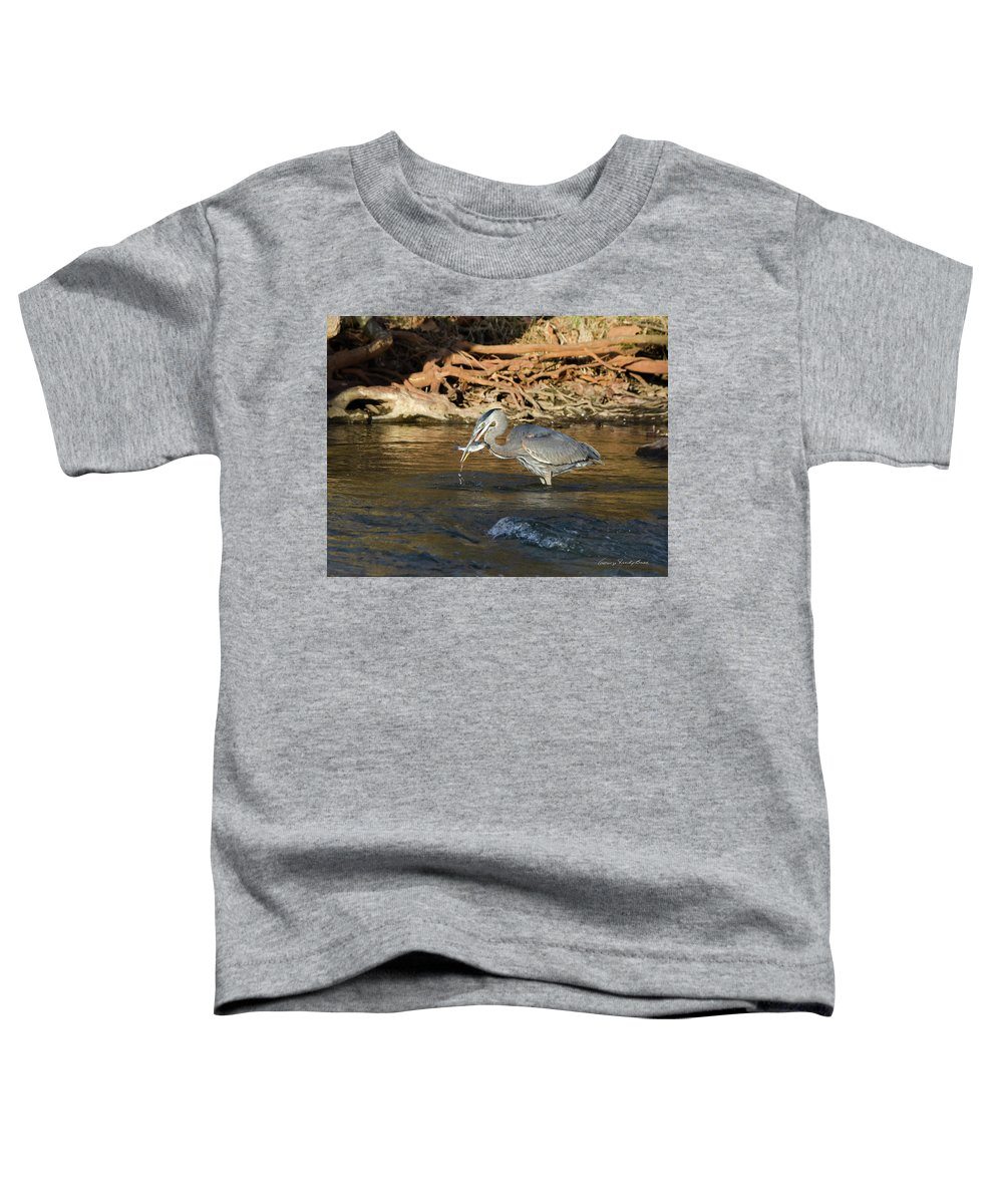 Heron Toddler T-Shirt featuring the photograph Lunch On The Neuse River by George Randy Bass