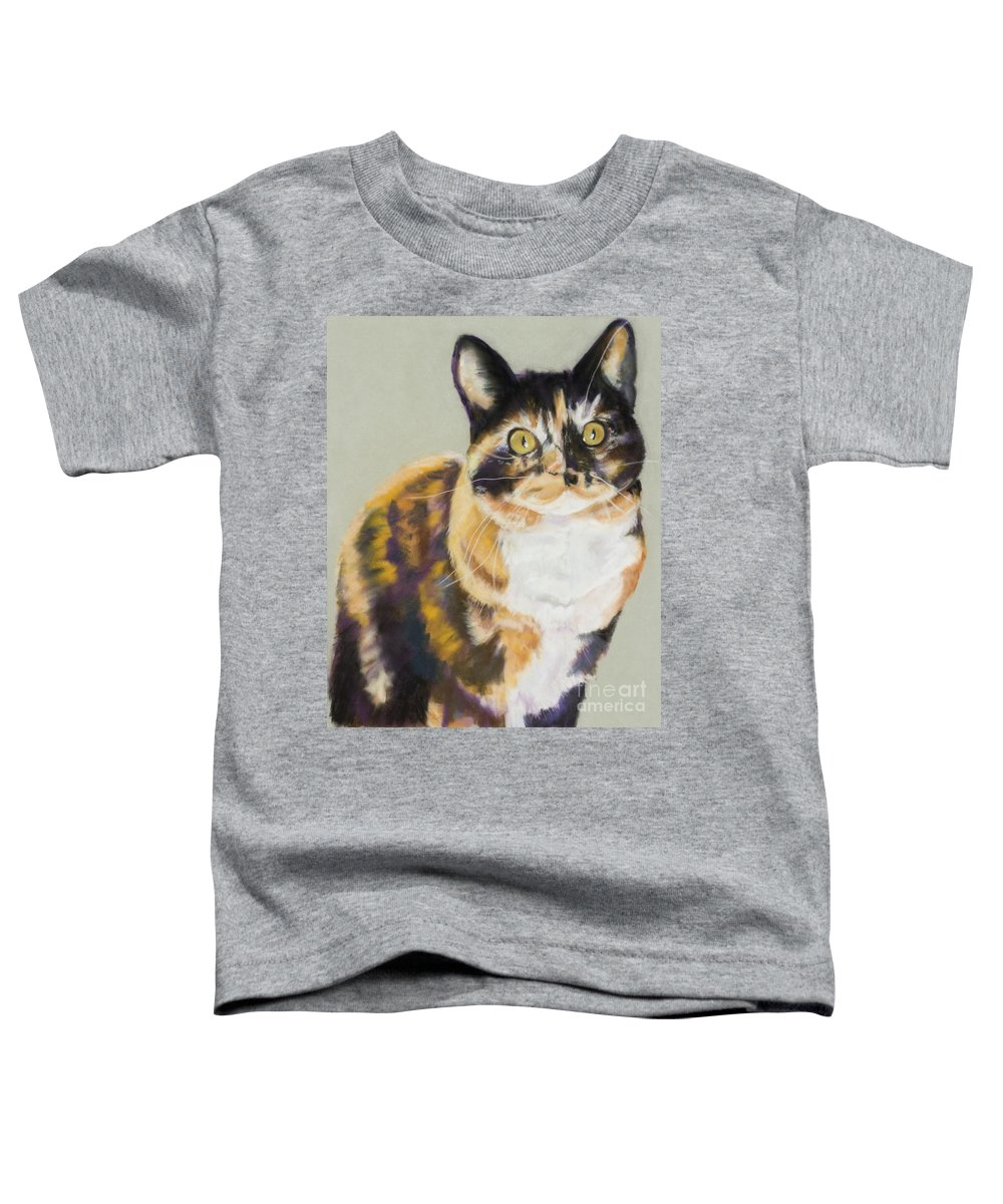 Calico Toddler T-Shirt featuring the painting Maggie Mae by Pat Saunders-White
