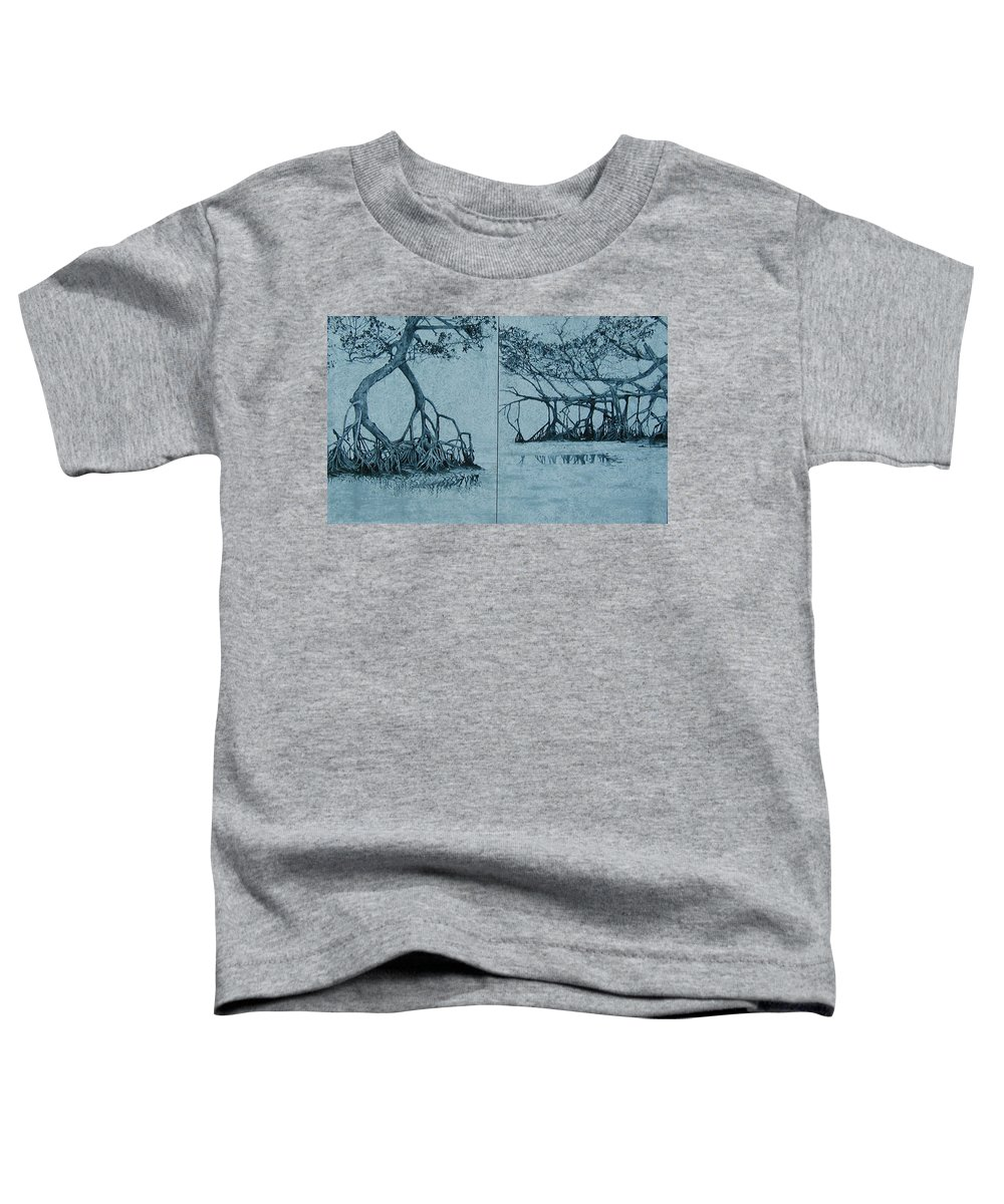 Blue Toddler T-Shirt featuring the painting Mangroves by Leah Tomaino