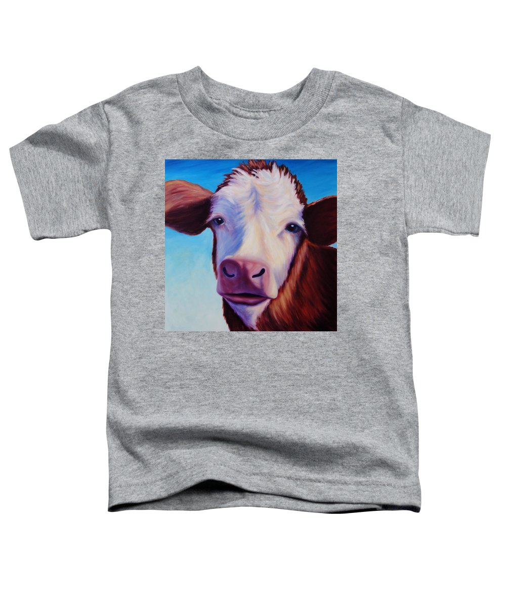 Cow Toddler T-Shirt featuring the painting Marie by Shannon Grissom