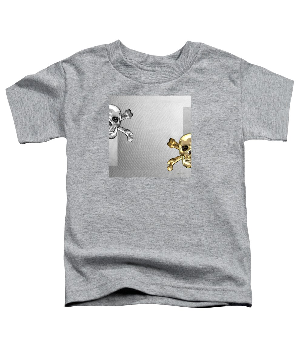 'visual Art Pop' Collection By Serge Averbukh Toddler T-Shirt featuring the digital art Memento Mori - Gold And Silver Human Skulls And Bones On White Canvas by Serge Averbukh