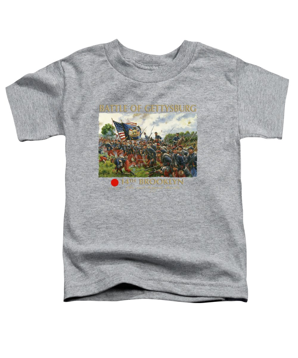 Civil Toddler T-Shirt featuring the painting Men Of Brooklyn - The 14th Brooklyn 14th N.y.s.m. Charge On The Railrad Cut - Battle Of Gettysburg by Mark Maritato