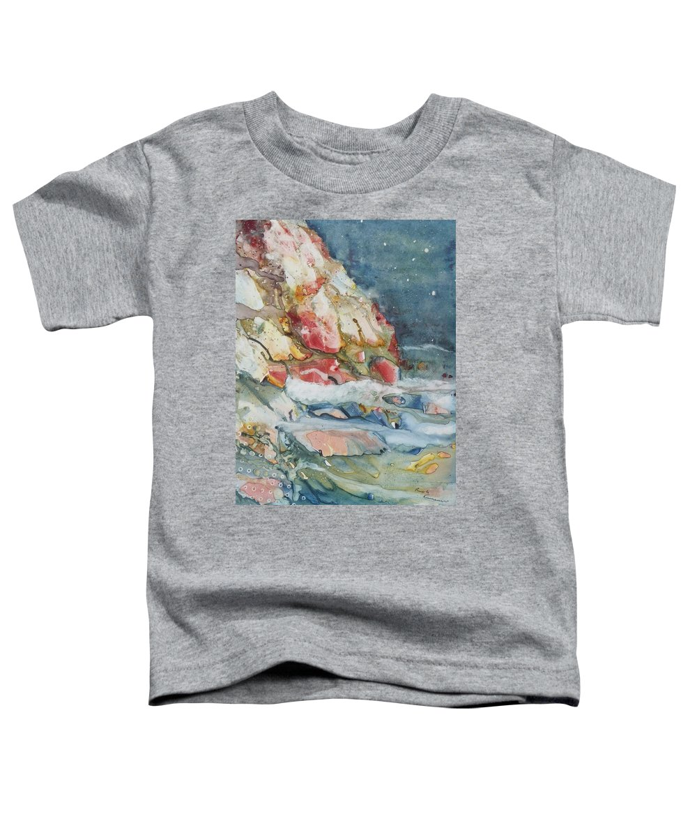 Abstract Toddler T-Shirt featuring the painting Midnight Surf by Ruth Kamenev
