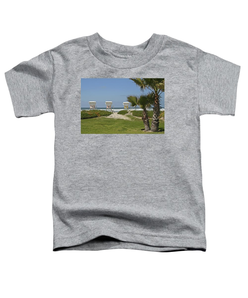 Beach Toddler T-Shirt featuring the photograph Mission Beach Shelters by Margie Wildblood