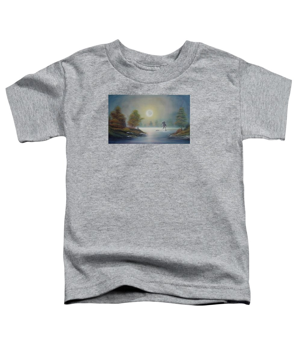 Landscape Toddler T-Shirt featuring the painting Monstruo Ness by Angel Ortiz