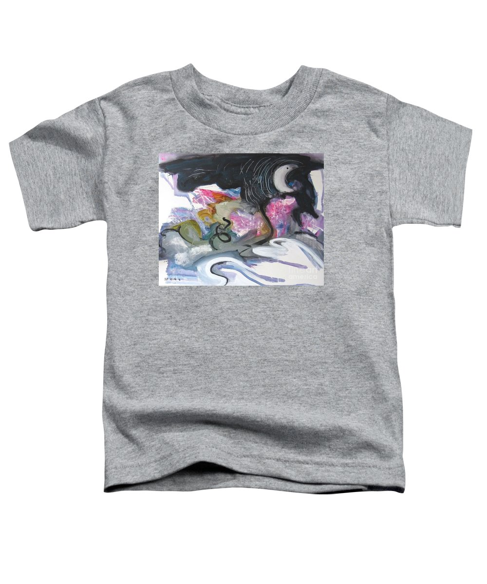 Abstract Paintings Toddler T-Shirt featuring the painting Moonlight Fever by Seon-Jeong Kim