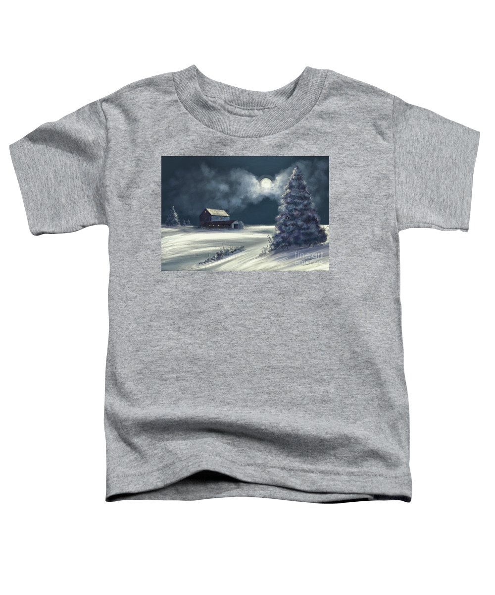 Moon Toddler T-Shirt featuring the digital art Moonshine On The Snow by Lois Bryan